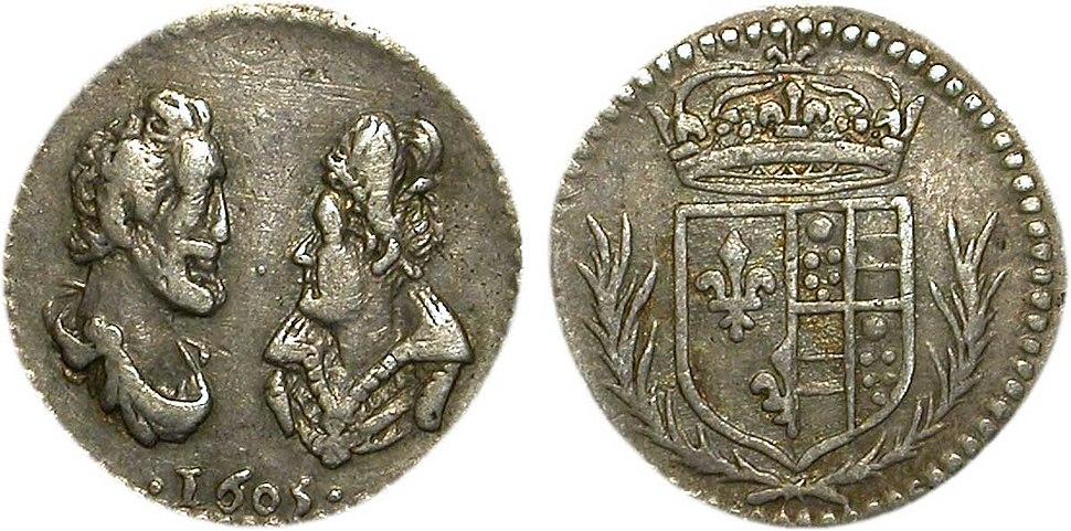 Médaille en argent d'Henri IV et Marie de Médicis