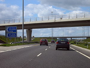 N7 road (Ireland) - N7 Junction 13 westbound on the M7 near Kildare.