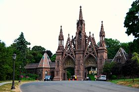 Green-Wood Cemetery's Gothic Arch. Located at 500 25th Street and 5th Avenue in Brooklyn.