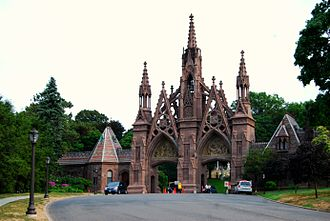 Greenwood Heights, Brooklyn - Green-Wood Cemetery's Gothic Arch. Located at 500 25th Street and 5th Avenue in Brooklyn.
