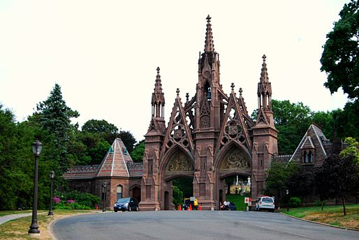 Green-Wood Cemetery's Gothic Arch. Located at 500 25th Street and 5th Avenue in Brooklyn, NY. - Greenwood Heights, Brooklyn