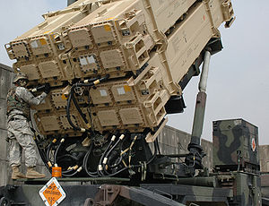 Air Defense Artillery Branch (United States) - A soldier assigned to the 35th Air Defense Artillery Brigade's 1st Battalion, 43rd Air Defense Artillery Regiment conducting maintenance on a Patriot missile launcher in 2006