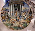 Maiolica di urbino, lapidazione di zaccaria, 1550 ca.jpg
