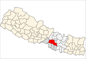 Makwanpur District i Narayani Zone (grå) i Central Development Region (grå + lysegrå)