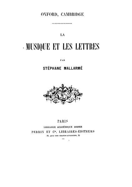 File:Mallarmé - La Musique et les lettres.djvu