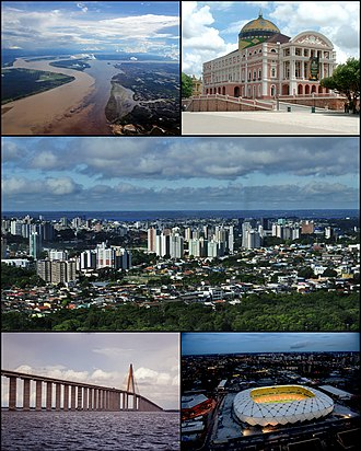 Manaus - Top left: Meeting of Waters; top right: Teatro Amazonas; center: view of the city; bottom left: Manaus–Iranduba Bridge and Rio Negro; bottom right: Arena da Amazônia at night.