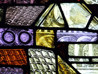 Manchester Cathedral - Detail of modern stained glass in the cathedral