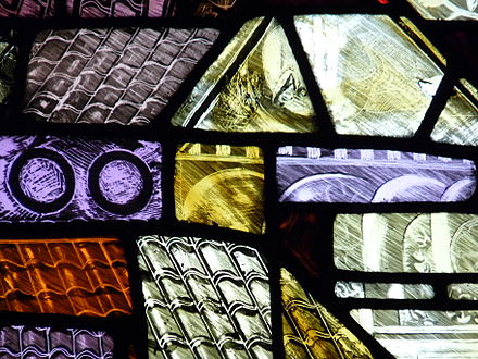 Detail of modern stained glass in the cathedral; the St Denys window Manchester Cathedral Stained Glass.JPG