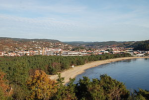 Mandal, Norway - View of Sjøsanden, a beach in Mandal