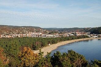 Mandal, Norway - View of Sjøsanden, a beach in Mandal