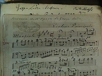 La gazza ladra - Part of the manuscript for La gazza ladra.