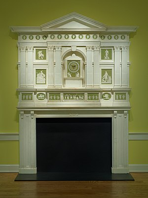 Halsey Ricardo - Created in the Neoclassical style, the jasperware plaques, medallions, and clock are made from 18th century molds. Held at the Birmingham Museum of Art.