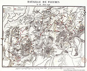 Battle of Fleurus (1794) - Contemporary map of the Battle of Fleurus