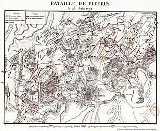 Battle of Fleurus (1794) - Contemporary map of the Battle of Fleurus