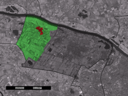 The village centre (red) and the statistical district (light green) of Winssen in the municipality of Beuningen.