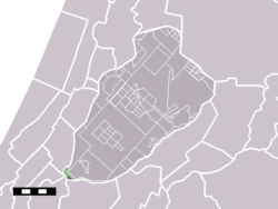 The village (darkgreen) and the statistical district (lightgreen) of Buitenkaag in the municipality of Haarlemmermeer.