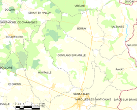 Mapa obce Conflans-sur-Anille