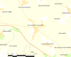 Mapa obce Ailly-le-Haut-Clocher