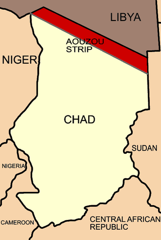 Simplified map showing the Aozou Strip between Chad and Libya, when given to Italian Libya in 1935 Map of Aouzou stip chad.PNG
