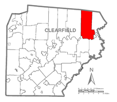 Map of Clearfield County, Pennsylvania highlighting Covington Township