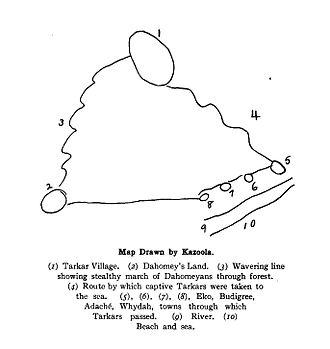 Cudjoe Lewis - Map drawn by Cudjo Lewis for Emma Langdon Roche to illustrate his capture.