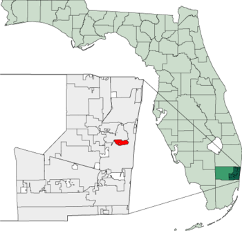 Map of Florida highlighting Wilton Manors