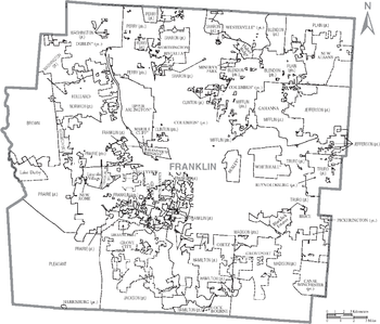 Map of Franklin County, Ohio With Municipal and Township Labels