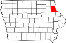 Map of Iowa highlighting Clayton County.svg