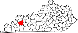 map of Kentucky highlighting Hopkins County