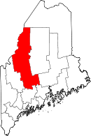 Map of Maine highlighting Somerset County