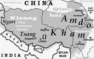 Ü-Tsang - Image: Map of Tibet Ü Tsang Amdo and Kham