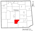 Map of Tioga County Pennsylvania Highlighting Duncan Township.PNG