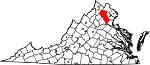 State map highlighting Fauquier County