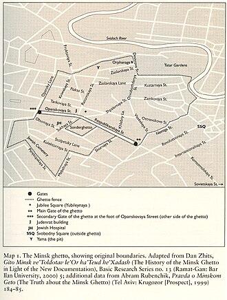 Minsk Ghetto - Map of the Minsk Ghetto by professor Barbara Epstein
