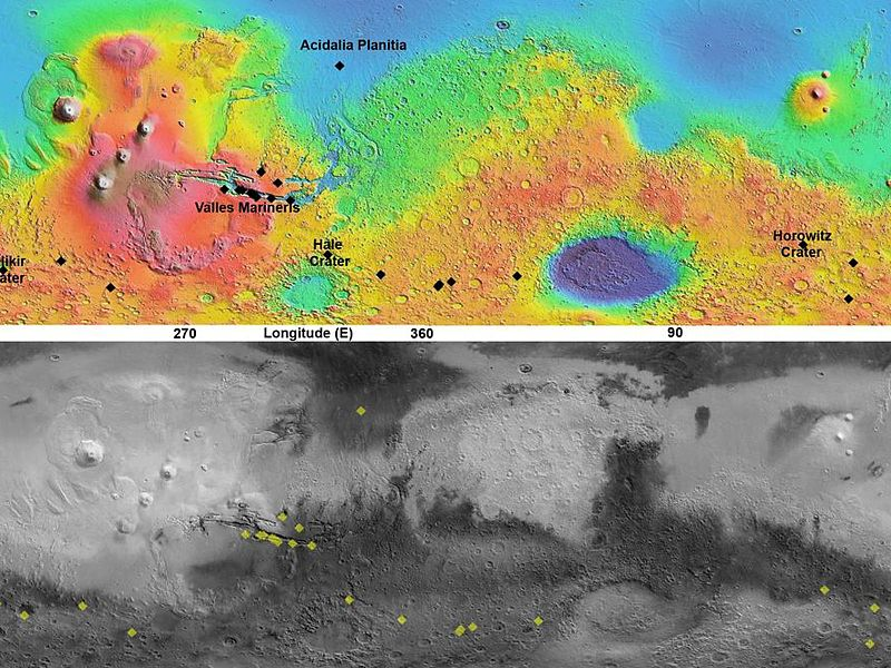 This pair of maps indicates locations of confirmed sites of recurrent slope linea on Mars, with respect to elevation (upper map) and surface brightness, or albedo (lower map). Recurrent slope linea are a class of markings that might be caused by flow of salty water. These dark lines advance downhill during warmer months, fade away in colder months, and reappear the following year. A paper by McEwen et al. in Nature Geoscience in December 2013 focuses on recent confirmation that these features exist surprisingly close to the equator. A cluster of recent findings is in the Valles Marineris area.The albedo information comes from the Thermal Emission Spectrometer on NASA's Mars Odyssey orbiter. Surface topographical information for the map comes from the Mars Orbiter Laser Altimeter on NASA's Mars Global Surveyor orbiter.