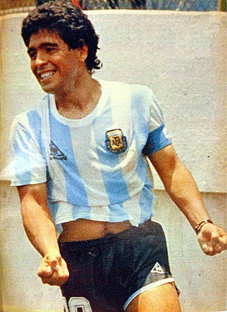 Diego Maradona - Maradona after scoring against Italy in the 1986 World Cup in Mexico
