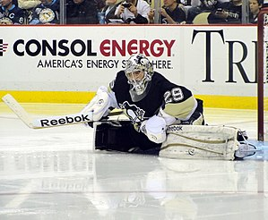 Marc-André Fleury - Fleury stretching during a 2011 game