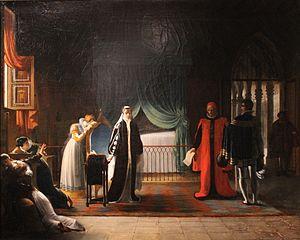 Marie Stuart, reine d'Écosse, recevant sa sentence de mort que vient de ratifier le Parlement by Jean-Baptiste Vermay