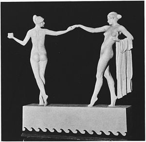 Mario Korbel - Architecture and Sculpture, allegorical bronze miniature, 1916
