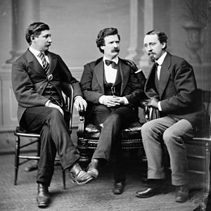 George Alfred Townsend - Townsend (left) photographed with Mark Twain (middle) and David Gray.