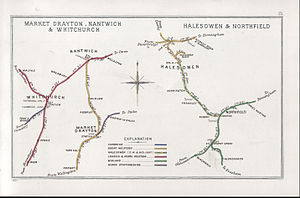 Halesowen Railway - A 1903 Railway Clearing House map of the Halesowen Joint Railway (shown in green and yellow) and connecting lines