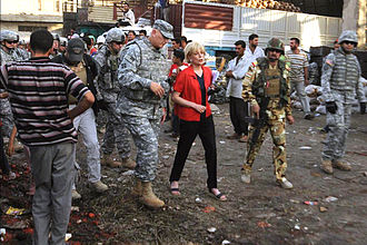 Lesley Stahl - Interviewing General Raymond Odierno for 60 Minutes in Sadr City, 2008.