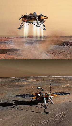 English: NASA Mars Lander, stack of two images...