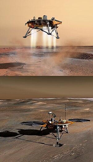English: NASA Mars Lander, stack of two images...