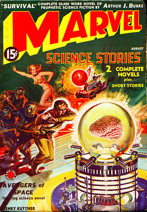 "Henry Kuttner - Kuttner's novelette ""Avengers of Space"" took the cover for the debut issue of Marvel Science Stories in 1938"