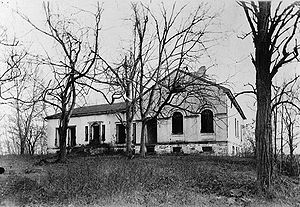 Theodore Roosevelt Island - Only the foundation remains of the Mason House, seen here in a 19th-century photograph