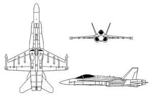 Orthographic projection of the F/A-18 Hornet