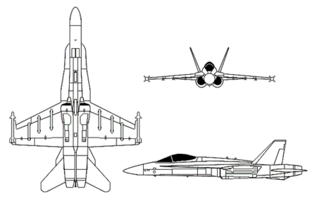 Orthographically projected diagram of the F/A-18 Hornet