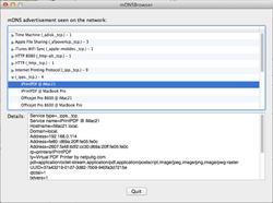 mDNSBrowser showing Bonjour service details.