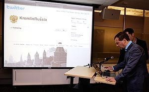 Twitter usage - Russian President Dmitry Medvedev opens a Twitter account in Twitter's offices on 23 June 2010.